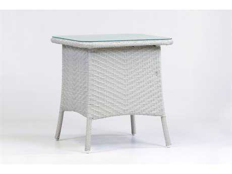South Sea Rattan Bahia Wicker 22.5'' Wide Square Glass End Table