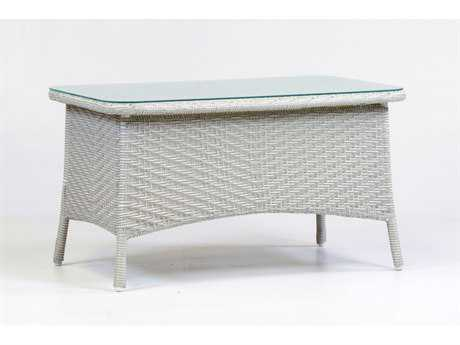 South Sea Rattan Bahia Wicker 36''L x 22''W Rectangular Glass Coffee Table