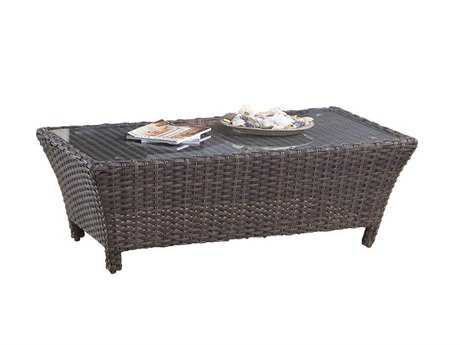 South Sea Rattan Patio Done Quick Panama Wicker 39''W x 26''L Rectangular Coffee Table