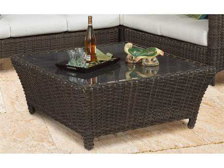 South Sea Rattan Panama Wicker Charcoal Brown 40''Wide Square Glass Top Chat Table