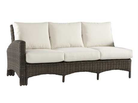 South Sea Rattan Panama Wicker Left Arm Sofa