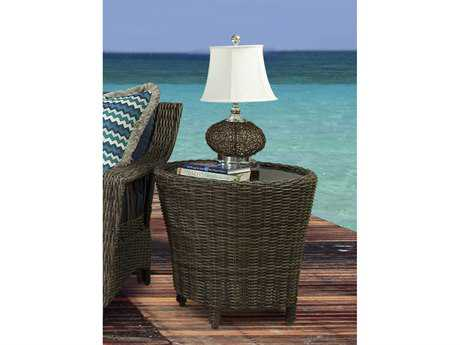South Sea Rattan Patio Done Quick Saint John Wicker 27'' Wide Round End Table