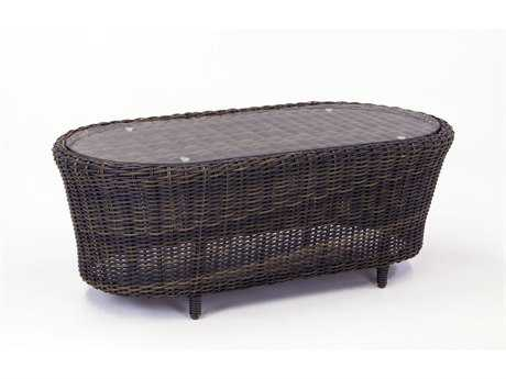 South Sea Rattan Saint John Wicker 39''W x 26''L Oval Coffee Table PatioLiving