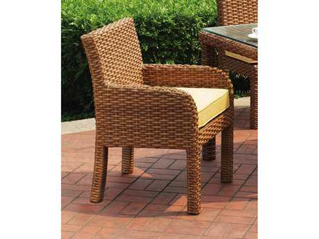 South Sea Rattan Java Wicker Cushion Arm Dining Chair