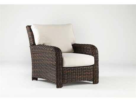 South Sea Rattan St Tropez Wicker Cushion Arm Lounge Chair
