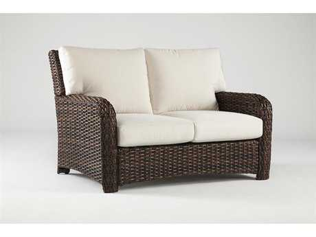 South Sea Rattan St Tropez Wicker Cushion Arm Loveseat PatioLiving