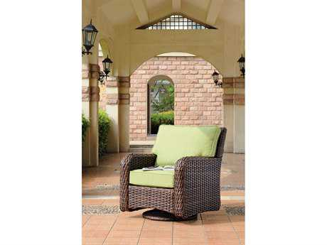 South Sea Rattan St Tropez Wicker Cushion Arm Glider Lounge Chair