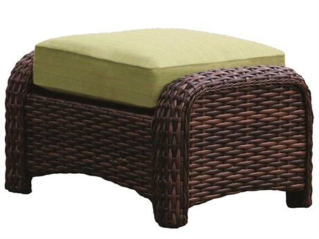 South Sea Rattan St Tropez Wicker Cushion Ottoman