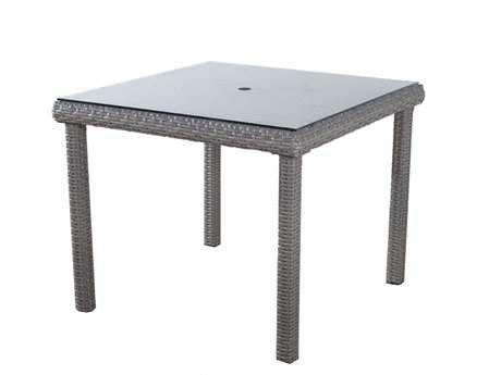 South Sea Rattan St Tropez Wicker 38'' Wide Square Glass Dining Table