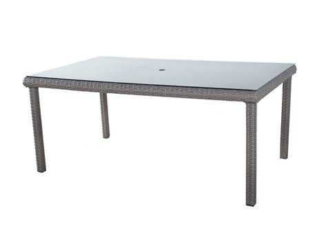 South Sea Rattan Saint Tropez Wicker 72''L x 42''W Rectangular Glass Dining Table PatioLiving