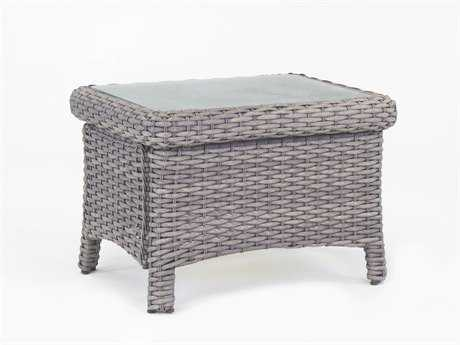 South Sea Rattan Patio Done Quick St Tropez Wicker 28''L x 22''W Rectangular Glass End Table