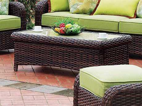 South Sea Rattan Patio Done Quick St Tropez Wicker 48''L x 24''W Rectangular Glass Coffee Table