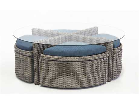 South Sea Rattan Saint Tropez Wicker 48 Round Glass Coffee Table with 4 Ottomans