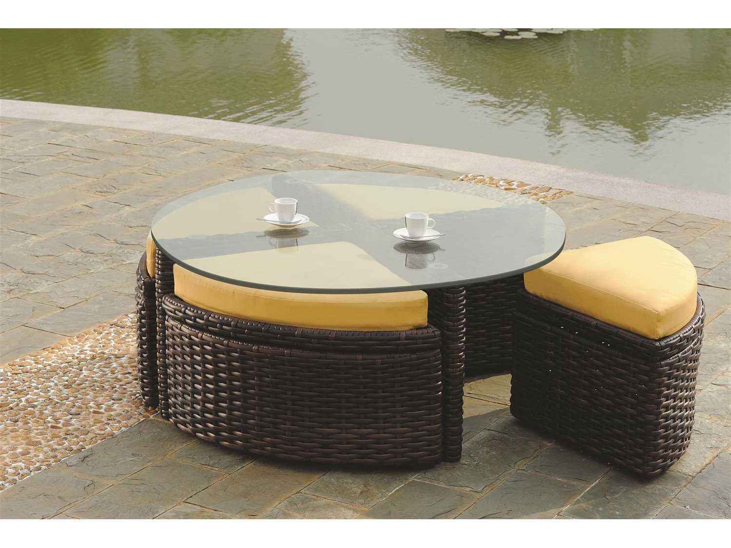 South Sea Rattan Saint Tropez Wicker 48 Round Glass Coffee Table With 4 Ottomans Sr79346