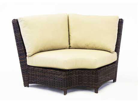 South Sea Rattan Saint Tropez Wicker Wedge Cushion Sectional Lounge Chair