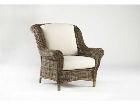 South Sea Rattan Provence Wicker Cushion Arm Lounge Chair