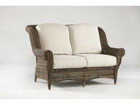 South Sea Rattan Provence Wicker Cushion Arm Loveseat