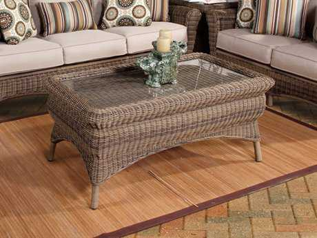 South Sea Rattan Provence Wicker 46''L x 26''W Rectangular Glass Coffee Table