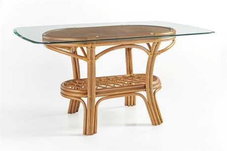 South Sea Rattan Palm Harbor Wicker Oval Glass Dining Table