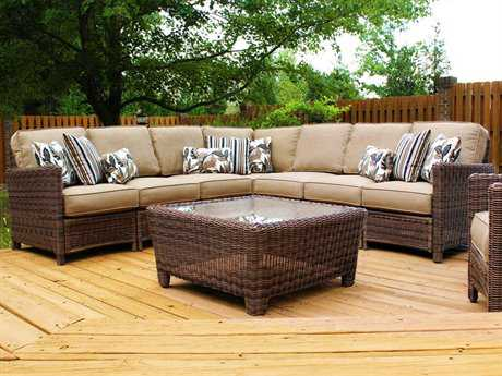 South Sea Rattan Del Ray Wicker Conversation Cushion Lounge Set