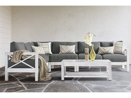 Farlowe Aluminum Brushed White Sectional Lounge Set
