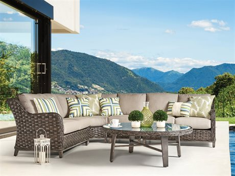 South Sea Rattan Grand Isle Wicker Sectional Lounge Set
