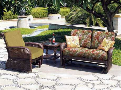 South Sea Rattan Martinique Wicker Conversation Glider Cushion Lounge Set