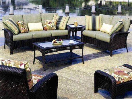 South Sea Rattan Martinique Wicker Conversation Cushion Lounge Set SRMARTLS