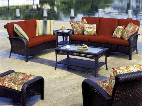 South Sea Rattan Martinique Wicker Conversation Cushion Lounge Set