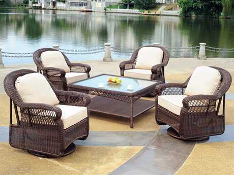 South Sea Rattan Montego Bay Wicker Conversation Cushion Lounge Set