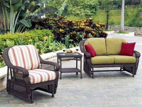 South Sea Rattan Montego Bay Wicker Conversation Gliding Cushion Lounge Set