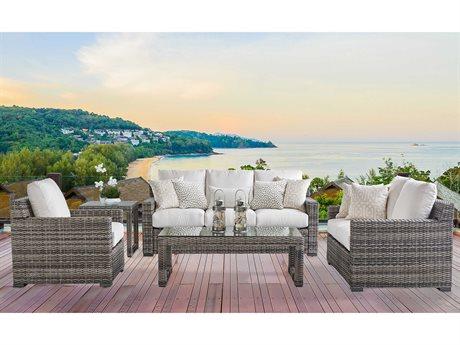 South Sea Rattan New Java Wicker Sandstone Lounge Set
