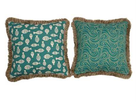 South Sea Rattan Pillow Talk Large Aquamarine Pillow SRPT20L