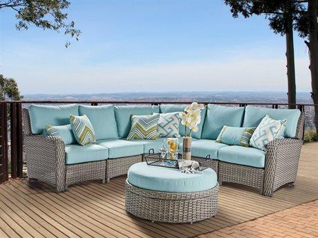 South Sea Rattan Saint Tropez Wicker Sectional Lounge Set