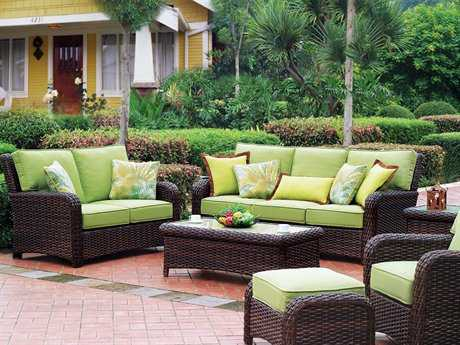 South Sea Rattan Saint Tropez Conversation Cushion Wicker Lounge Set PatioLiving