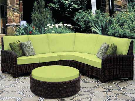South Sea Rattan Saint Tropez Wicker Sectional Cushion Lounge Set