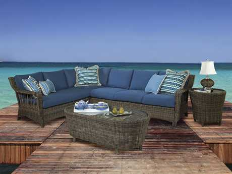 South Sea Rattan Saint John Wicker Sectional Set