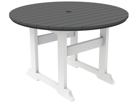 Seaside Casual Salem Rounds Recycled Plastic 48''Wide Round Dining Table with Umbrella Hole