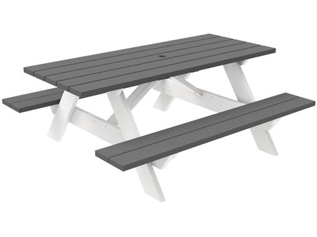 Seaside Casual Complementary Pieces Recycled Plastic 72''W x 52''D Wide Rectangular Picnic Table with Umbrella Hole