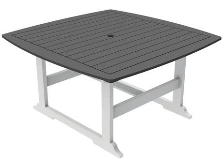 Seaside Casual The Portsmouth Recycled Plastic 56''Wide Square Dining Table with Umbrella Hole