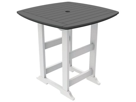 Seaside Casual The Portsmouth Recycled Plastic 42'' Wide Square Bar Table with Umbrella Hole