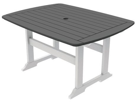 Seaside Casual The Portsmouth Recycled Plastic 56''W x 42''D Rectangular Dining Table with Umbrella Hole