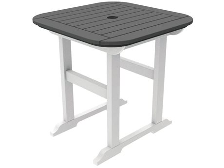 Seaside Casual The Portsmouth Recycled Plastic 30'' Wide Square Dining Table with Umbrella Hole