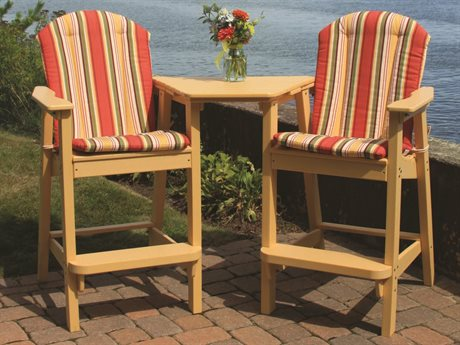 Seaside Casual The Shellback Adirondack Recycled Plastic Cushion Bar Set