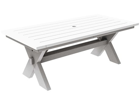 Seaside Casual The Sonoma Recycled Plastic 80''W x 40''D Rectangular Dining Table with Umbrella Hole