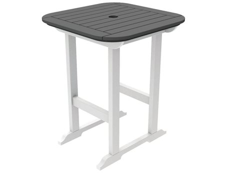 Seaside Casual Portsmouth Recycled Plastic 30'' Wide Square Counter Table with Umbrella Hole