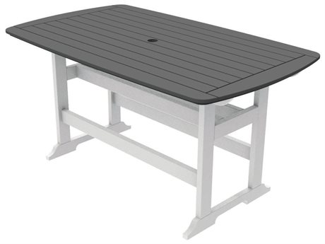 Seaside Casual The Portsmouth Recycled Plastic 72''W x 42''D Rectangular Counter Table with Umbrella Hole