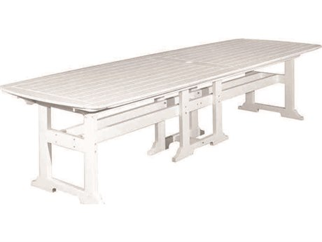 Seaside Casual The Portsmouth Recycled Plastic 130''W x 42''D Rectangular Dining Table with Umbrella Hole