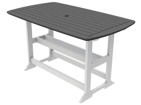 Seaside Casual Portsmouth Recycled Plastic 72''W x 42''D Rectangular Bar Table with Umbrella Hole