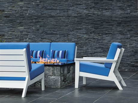 Seaside Casual Dex Recycled Plastic Cushion Firepit Lounge Set